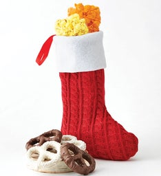 Red Knit Stocking with Glitter Pen