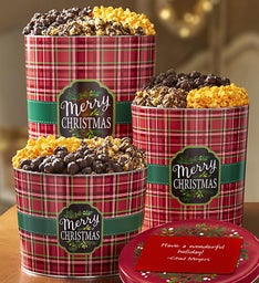 Merry Christmas & Happy Holidays Plaid Deluxe Popcorn Tins
