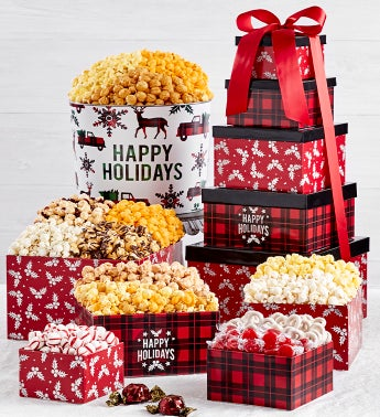 Very Merry Plaid Happy Holidays 5-Tier Tower and 2 Gallon Tin