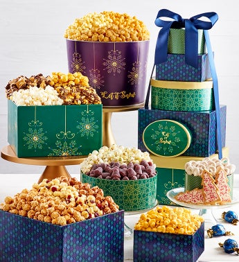 Let It Snow 6-Tier Gift Tower  2-Gallon Popcorn Tin