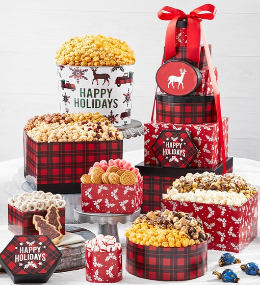 Very Merry Plaid Happy Holidays 8-Tier Gift Tower with 2-Gallon Popcorn Tin