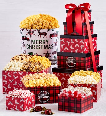 Very Merry Plaid Merry Christmas 5-Tier Tower and 2 Gallon Tin
