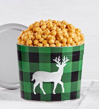 Verry Merry Plaid 175 Gallon Reindeer Tin