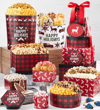 Very Merry Plaid Happy Holidays 8-Tier Gift Tower with 2-Gallon  3 12-Gallon Popcorn Tins